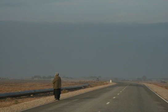 On the road, waiting for a lift. Early morning outside Mazar-e-Sharif