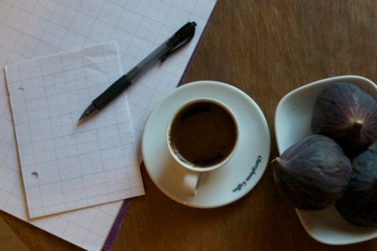 Coffee, figs and a blank sheet of paper - this is how it all starts